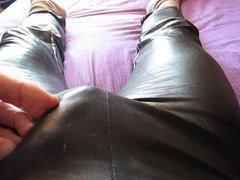 Wank and vidz cum in  super my black wet look leggings and satin panties
