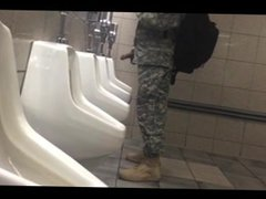 Soldier hardon vidz in public  super bathroom.