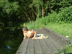 Swimming, wanking vidz and cumming  super at the canoe boarding point
