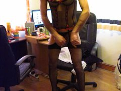 stripping out vidz of a  super secretary outfit to reveal sexy basque