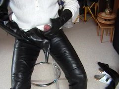 Massive Cum vidz on highheeled  super Boots with gloved Hands