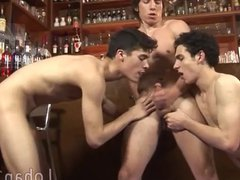 Hunky barman vidz initiates a  super jolly 3some party