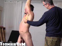 Ticklish guy vidz is bound  super with his arms up with his pits exposed