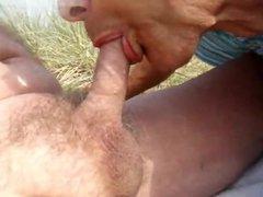 Grandpa gets vidz drained his  super delicious cock at the beach