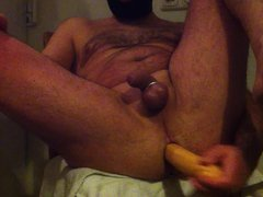 large double vidz headed dildo  super all the way with cum dripping