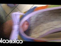 Cum in vidz MIlF's purple  super open toe heel