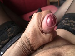 Handjob stockings vidz mastrebution comming  super nylon