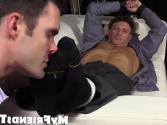 Bryce Evans vidz is tied  super up and has his toes licked on the couch
