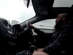 Driving and vidz Stroking my  super Cock