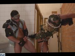 Guys in vidz uniform Hector  super and Paddy having sex in the bathroom