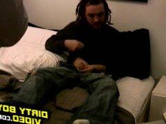 Amateur dude vidz Rik rubs  super his dick in bedroom on the bed