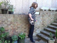 Alison in vidz Thigh Boots  super - Wanking in the garden yet again