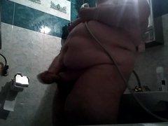 Big boy vidz with a  super big dick jerking off in shower