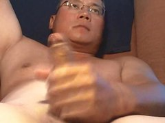 Handsome asian vidz shooting hard
