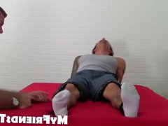 Laurent is vidz strapped in  super bed in tickle torture session
