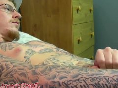 Tattoed Ivy vidz drains his  super balls of jizz