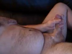 Bear stroke vidz a nice  super creamy load out of his fat dick.