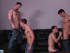 Four adorable vidz handsome dudes  super having wild gay orgy in a hotel