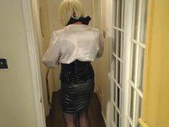 Candi in vidz secretary style,  super satin blouse and pvc shiny skirt