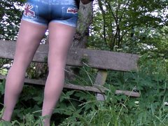 Wanking in vidz Pantyhose in  super the woods Nylon cum