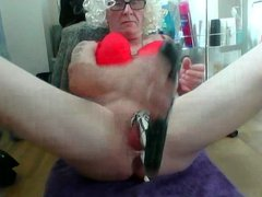sissy ken vidz in chastity  super fucks himself with a dildo