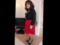 Red skirt vidz with black  super spots
