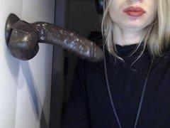 Naughty tranny vidz blowing her  super big toy