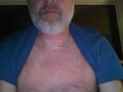 Grey bearded vidz mature man  super cums on his leg