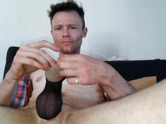 Masturbing my vidz cock with  super nylon stockings!!!!