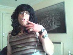 Master's Sissy vidz Simone Smoking  super For His Pleasure