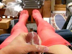Red rht vidz stockings, old  super view, cum