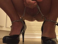 Shemale cums vidz on black  super pumps chained to feet