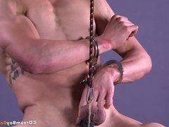 Muscle Stud vidz Ball Stretched  super Torture BDSM Gay Bondage Jock