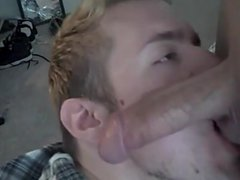 Cumming in vidz the twink's  super mouth after a nice blowjob