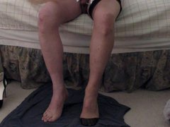 Putting on vidz RHT stockings,heels,and  super two cums on my feet