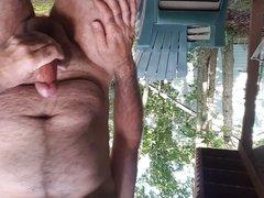 Jerking off vidz outdoors in  super back yard cim shot public 2