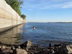 Swim with vidz a long  super 18,5 inch dildo 47 cm deep in ass outdoor!