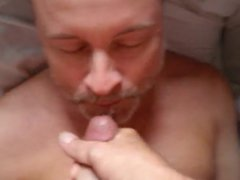 Older friend vidz sucks my  super cock and I shoot all over his face