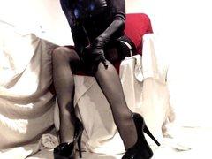 Heels Seamed vidz Nylon Lace  super and Shiny Wetlook PVC