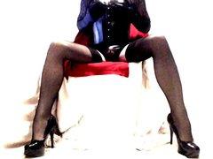Heels Seamed vidz Nylons Lace  super and Shiny Wetlook PVC & Harness Bra