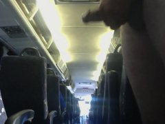 Public JO. vidz Naked on  super the bus, stroking my cock