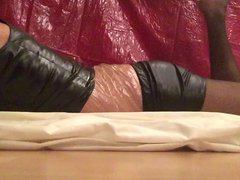 Playing with vidz pantyhose, plastic,  super dildo, PVC shorts and top 1