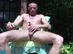 Hot dude vidz Armani enjoys  super jacking off his dick under the sun