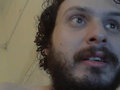 Bearded chubby vidz dreaming and  super eating his own cum