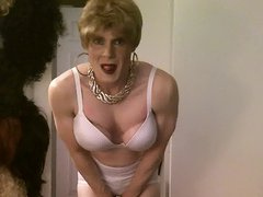 white bra vidz and panties,  super short blonde hair cd