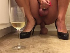 Transsexual with vidz red fingernails  super with Shane Diesel Dildo