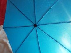 Cumming on vidz (not) Sister's  super umbrella