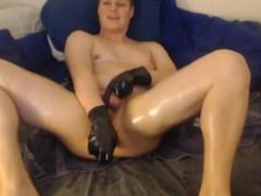 Shiny James vidz - Latex  super oil and large anal dildo. Moaning