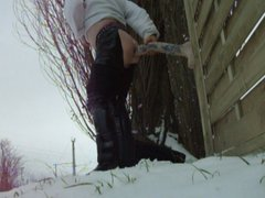 Flash fucking vidz Monster Dildo  super in Snow Outdoor