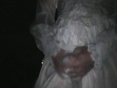 wet wedding vidz gown outside